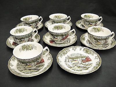 Johnson Bros Friendly Village Lot of 7 Cups and 8 Saucers Ice House Design