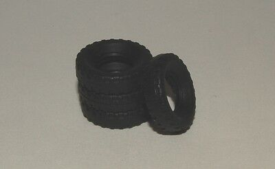 15-2- 4 Black Block Tires for Dinky 1960's Saloons, vans and small trucks 15mm