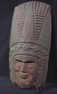 Lovely Antique Carved Cedar Mask Native West Coast ? South Latin American Mexico