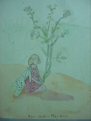 Folk Art Watercolor Painting Forget Me Not Sad Looking Fairy at Rest  1931