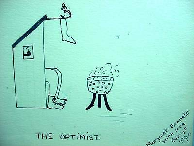Folk Art Pen Ink Drawing The Optimist Man In Outhouse Smoking Pipe Stocking 1931