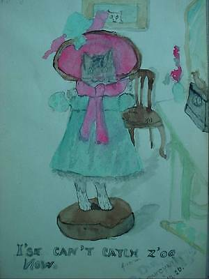 Folk Art Watercolor Painting I'se Cant Catch Z'oo Now Cat Standing in Dress 1926