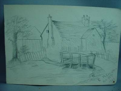 Lovely Antique Pencil Drawing Farm House & Bridge Dated 1921 Signed