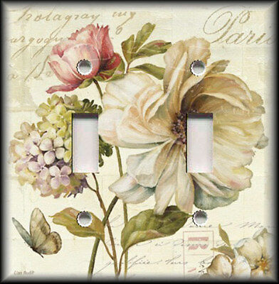 Metal Light Switch Plate Cover French Flowers Floral Vintage Shabby Chic Decor