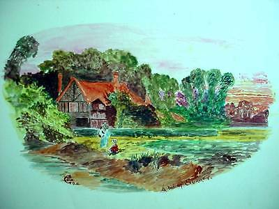 Lovely Antique Watercolor Painting Dated 1911 A Bit Of Surrey Country Landscape