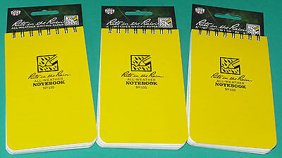 "Rite in the Rain #135 3"" x 5""  All Weather Outdoor Notebook NEW Lot of 3"