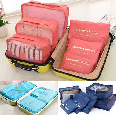 6 Pcs Waterproof Clothes Storage Bags Packing Cube Travel Luggage Organizer V