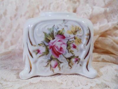 inkwell footed Antique Vintage LADY's Desk Small porcelain China ROSES & BUDS