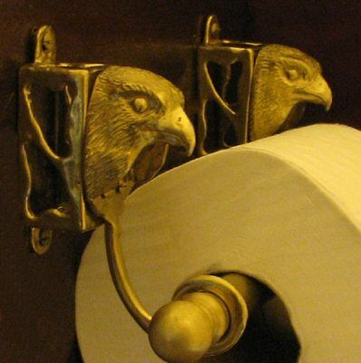 FALCON Bronze Toilet Paper Holder,  OR Paper Towel Holder, Falconry!
