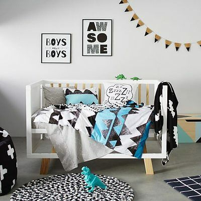ADAIRS KIDS Jagger triangles geometric COT (Jnr Bed) QUILT COVER SET BNIP blue
