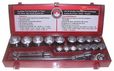 "21 Piece 3/4"" Drive 12-Point S.A.E. Ratchet Wrench Socket Set CRV Steel"