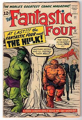 Marvel Comics VG- FANTASTIC FOUR  #12  1st App HULK in FF4