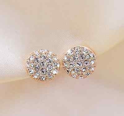 Circle Crystal Elegant Rhinestone Golden Ear Stud Earrings Fashion Women ER768