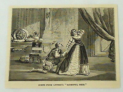 1887 magazine engraving ~ SCENE FROM LYTTON'S RIGHTFUL HEIR