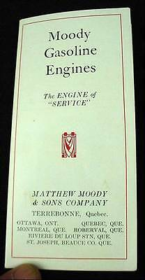 1920's Moody Hit Miss Stationary Gasoline Engine & Trucks Advertising Brochure