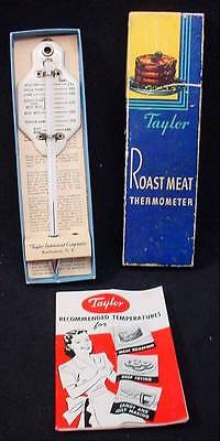 1951 Taylor Roast Meat Thermometer In Box W/ Instruction  Booklet Cooking