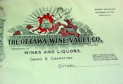 Early 1900's Advertising Letterhead THE OTTAWA WINE VAULT CO Vignette Graphics