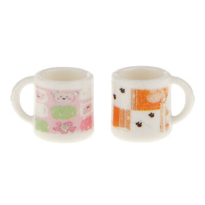 Doll House Miniature Cupe Pattern Water Coffee Tea Cups Mugs 1/12 Scale 2pcs