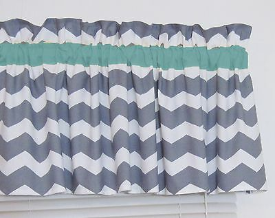 Turquoise & Gray Chevron Window Valance Zig Zag Bathroom Bedroom Nursery Kitchen