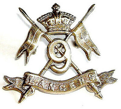 Victorian The 9Th Royal Lancers Cap Badge Solid Silver