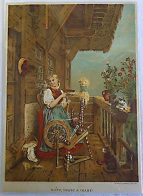 1882 magazine lithograph ~ KITTY, YOU'RE A TEASE!, woman w/ three cats