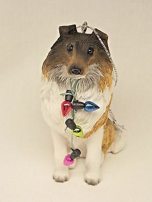 Collie/Sheltie Dog with Tree Lights Christmas Tree Ornament Molded Resin 3 14 In