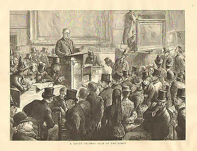 Christie's Auction House, Picture Sale, Art Auction, Vintage 1887 Antique Print