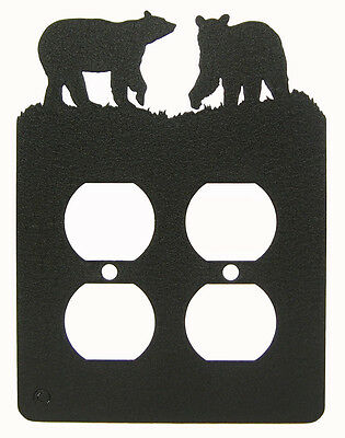 Bear Bears Double Outlet Cover Plate Black