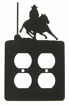 Pole Bending Double Outlet Cover Plate Black