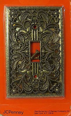 Vintage Aged Bronze Filigree Switch Plate Outlet Cover Wall 1 Toggle JC Penney