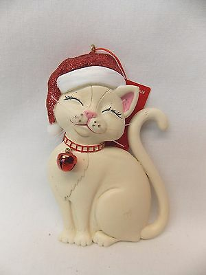 Cats with  Sparkly Santa Hats&Bell Christmas Tree Ornaments All colors  4 1/4 In