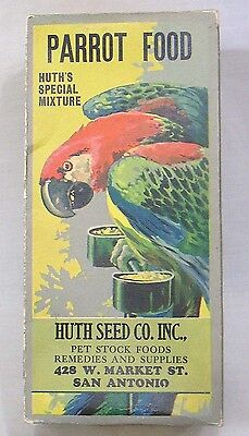 Vintage Box of Parrot Food Huth's Special Mixture MACAW on Box GORGEOUS!