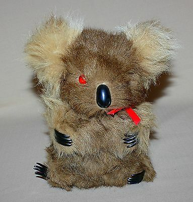 "9"" Stuffed Musical Koala Brown Real Fur Waltzing Matilda Vintage Animal Toy"