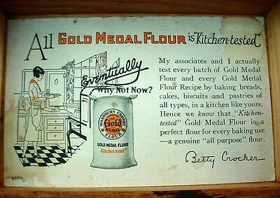 Vintage Oak Box Jointed Gold Medal Flour Betty Crocker Recipe Box For Your Cards