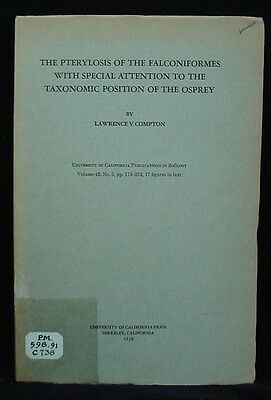 1938 Booklet PTERYLOSIS OF FALCONIFORMES & TAXONOMIC POSITION OF OSPREY Compton