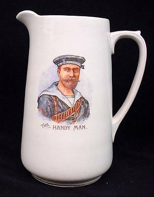 HMS Powerful WW1 Allies United Water Pitcher The Handy Man Sailor Cannon Flags