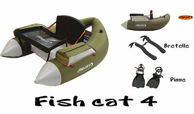 Belly Boat Fish Cat 4 Lcs Olive Pesca Black Bass Pinne e Bretelle Outcast A PPG