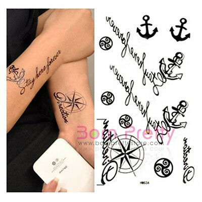 1pc Temporary Tattoo tatouage Decals Waterproof Personality Anchor timonier