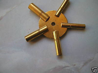 'NEW' brass spider clock key sizes 3.5.7.9.11