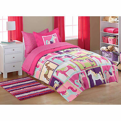 TWIN 5pc Girls Horse COMPLETE BEDDING SET in Bag Pink Purple Blue Pony Sheets
