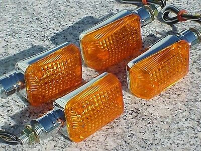 Set of Four Chrome/Amber MOTORCYCLE TURN SIGNALS