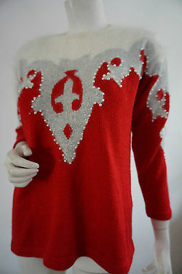 Pull vintage 80 Taille 38  M ANgora pullover perles rOugE  VTG GLAM ROCK