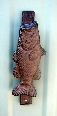 Antique Reproduction Cast Iron Bass Fish Door Knocker