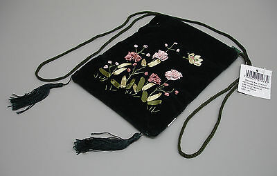 New Dark Green Velvet Embroidered Shoulder Bag Handbag Ribbon Decoration RS40