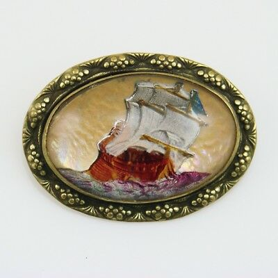 Antique Intaglio Reverse Painted Nautical Ship GOOFUS GLASS Domed Brooch Pin