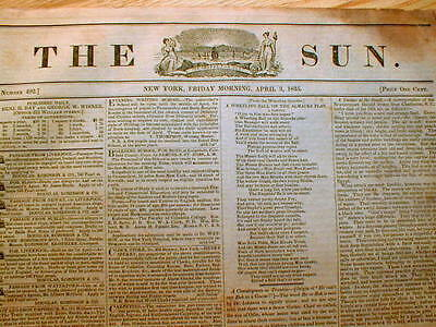 Original 1835 NEW YORK SUN newspaper - 1st penny paper - BENJAMIN DAY printer