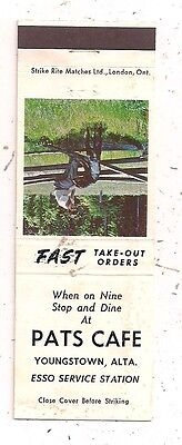 Pats Café Esso Service Station Youngstown AB Alberta Matchcover 060316