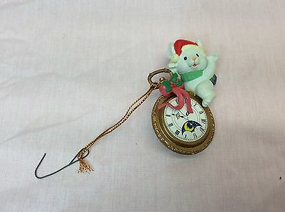 Vintage Lustre Fame Christmas Tree Ornament Pocket Watch Mouse In Box  (0-4)
