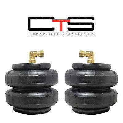 """Two Standard 2500 Bags 1/2""""NPT Elbow 1/4"""" Fittings Air Ride Suspension"""