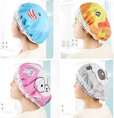 Womens' Cute Bathing Hair Hat Elastic Waterproof Salon Plastic Home Shower Cap